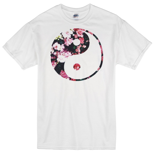 Yin yang flower art T-shirt