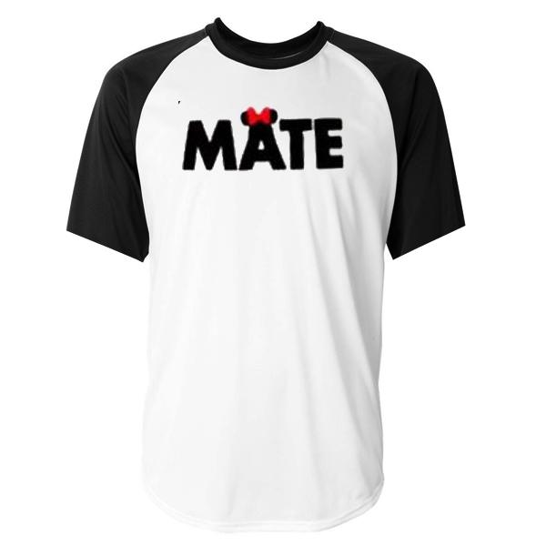 soul mate couple MATE raglan unisex tee shirt