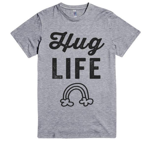 hug life rainbow T-shirt