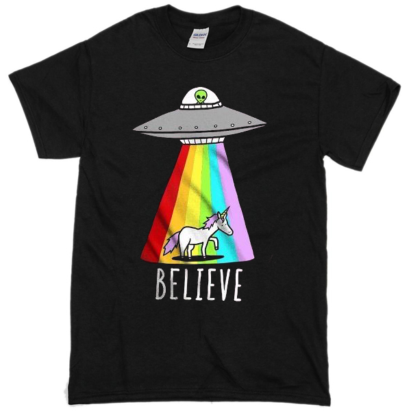 unicorn flying saucer alien t-shirt