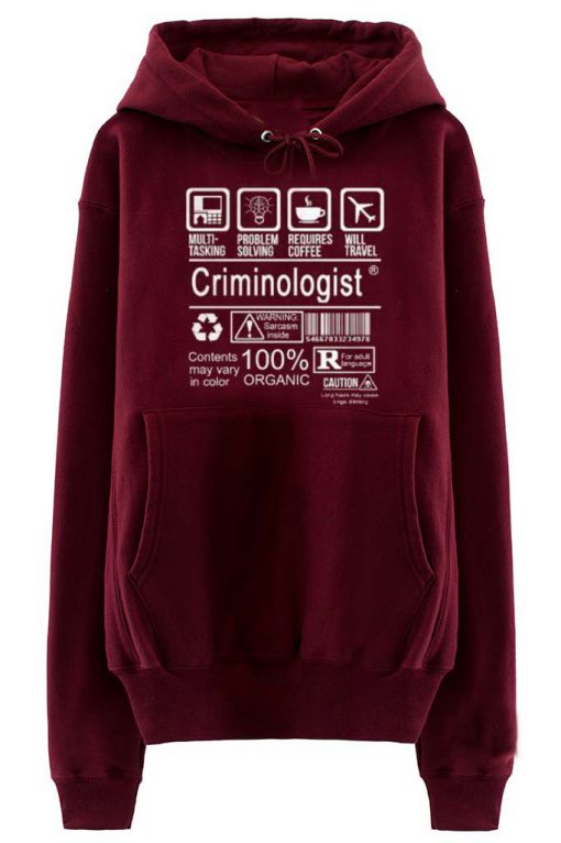 criminologist maroon color Hoodies