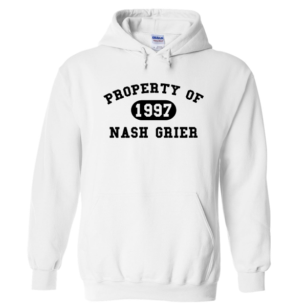 Property of Nash Grier 1997 white hoodie
