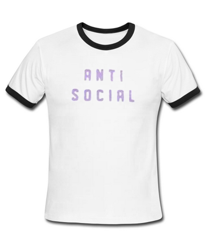 Anti social ringer T-shirt