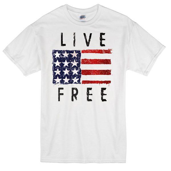 LIVE FREE USA flag T-shirt